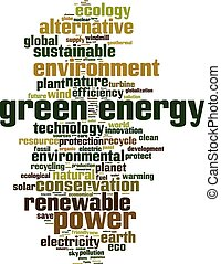Green energy word cloud concept Vector illustration