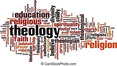 Theology word cloud concept Vector illustration