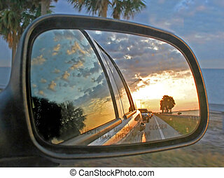 Car Mirror Reflection - The Reflections of cars and a sunset