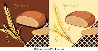 Rye bread and wheat ears Labels for design Vector...