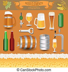 Set icons beer equipment, for creating your own infographics...