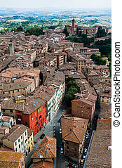 Siena. Image of ancient Italy city, view from the top....