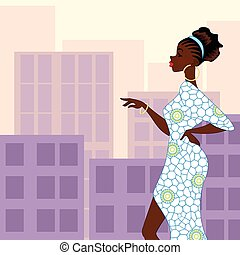 Dark-skinned woman in the city - Illustration of a...