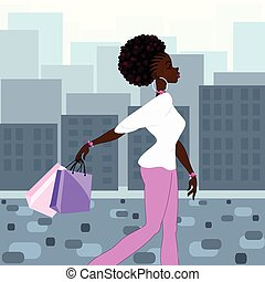 Dark-skinned woman shopping - Illustration of a fashionable,...