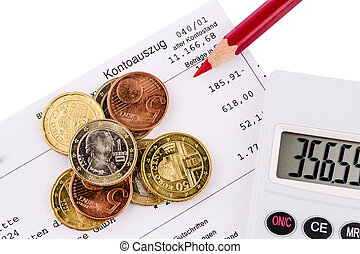 account statement and coins - the bank statement and some...