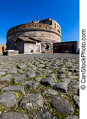 italy, rome, castel sant angelo. view from outside