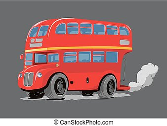 London Bus Double Decker Hand Drawn Style Illustration