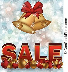 Winter sale banner with xmas bells,