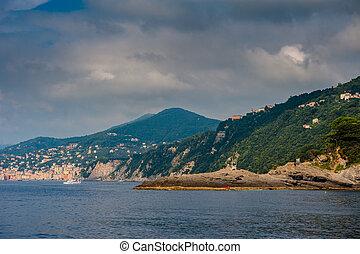 sable, plage, dans, Camogli, par, genova, Italy, ,