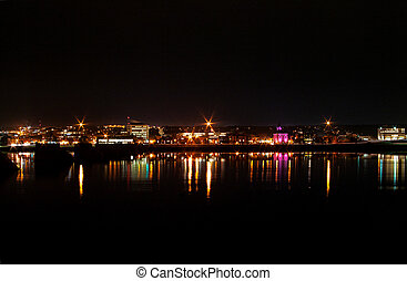 Fredericton City Lights south a night