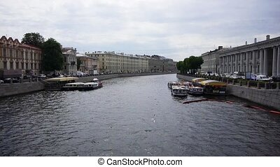 Enterntainment boats on Fontanka river, St Petersburg,...