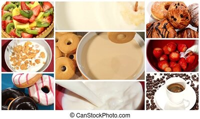 breakfast time montage - collage including diverse pastries,...