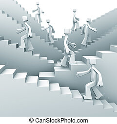 Growth and steps to success concept - people moving up on...