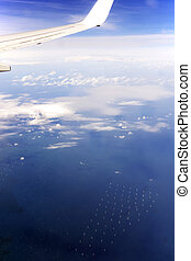 Offshore Wind Farms Seem from a Plane