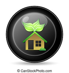 Eco house icon. Internet button on white background.