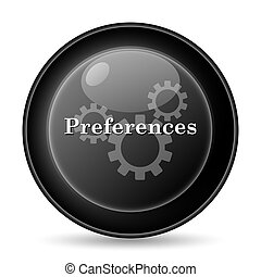 Preferences icon Internet button on white background