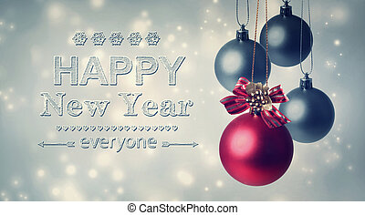 Happy New Year everyone text with hanging baubles - Happy...