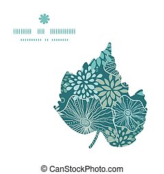 Vector blue and gray plants leaf silhouette pattern frame...