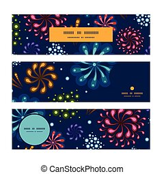 Vector holiday fireworks horizontal banners set pattern background