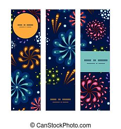Vector holiday fireworks vertical banners set pattern background