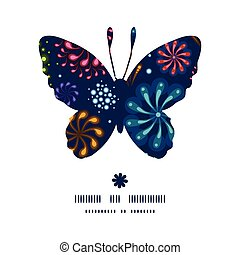 Vector holiday fireworks butterfly silhouette pattern frame