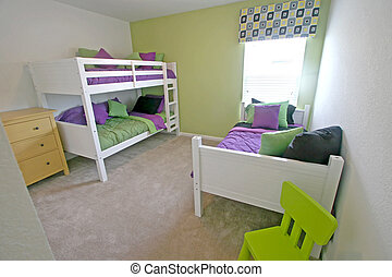 Twin and Bunk Bedroom - An Interior Home shot of a Twin and...