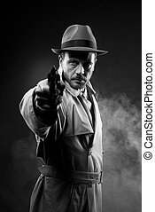 Vintage agent pointing a gun in the dark, film noir scene...