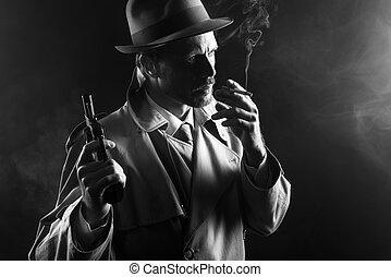 Film noir: gangster smoking and holding a gun - Film noir:...