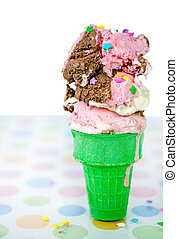 melting Neapolitan ice cream cone - Melting ice cream in...