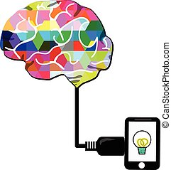 brain charge with smartphone or tablet on white screen, this...