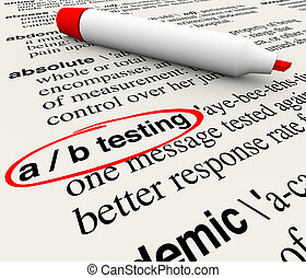 A/B Testing Words Dictionary Definition Experiment Message...