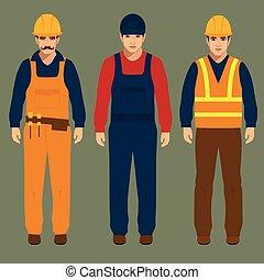 construction worker - builder, engineer man, vector...