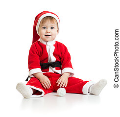 Adorable Christmas baby in Santa's clothes isolated