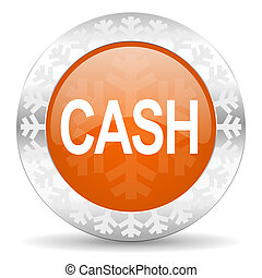 cash orange icon, christmas button