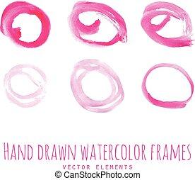 Pink watercolor circle frames - Pink watercolor hand drawn...