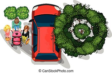 People strolling beside the vehicle - A topview of people...