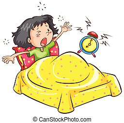 A girl waking up with an alarm - A drawing of a girl waking...