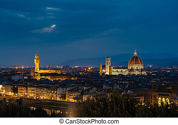 Night panorama of Florence View ot top - Night panorama of...