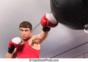 Boxer doing some training on punching bag at gym. Young...