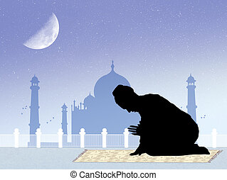 Muslim man prayer - illustration of Muslim man prayer
