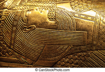 Tutankhamuns sarcophagus with hieroglyphics