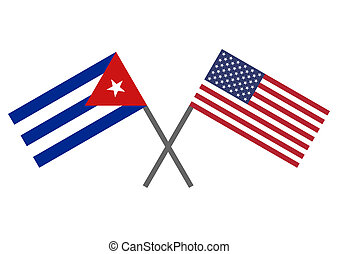 Flag of Cuba and USA - Flag of the USA and Cuba