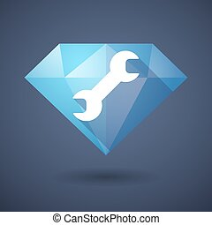 Diamond icon with a monkey wrench - Illustration of a...