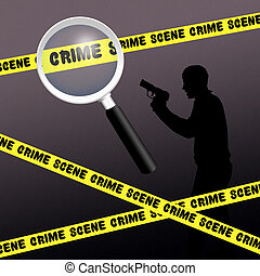 crime scene - illustration of crime scene