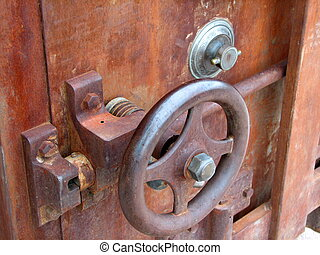 A very old safe - Unlocking wheel on an old fashioned safe