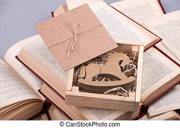 Wooden horse for Christmas - Little box with the toy horse...
