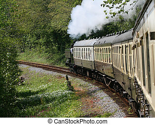 Steam Train - Steam train in full steam, turning a left hand...