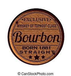 bourbon - Label stamp with text Bourbon on vector...