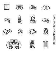Oculist black icons - Oculist optometry vision correction...