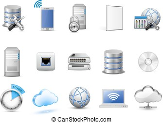 Network devices and computing icons - Cloud hosting icons...